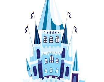 Ice Castle Wall Decal, Princess Castle Decal, Vinyl Wall Sticker, Removable Wall Decal, Vinyl Graphics, Princess Castle Decal, by Abby Smith