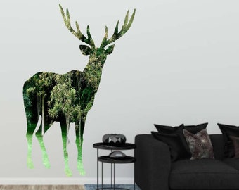Deer Wall Decal, Deer Silhouette Photography Silhouette, Vinyl Wall Decal, Removable Wall Sticker, Woodland Home Decor, Vinyl Art,