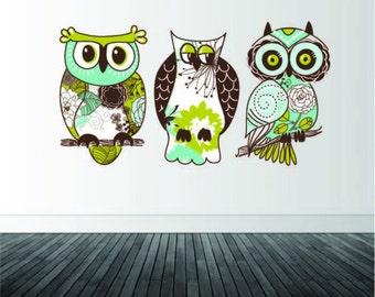 Owl Wall Decals, Set of 3 Owl Decals, Vinyl Wall Decals, Owls, Home Decor, Owl Theme Decor, Girl's Bedroom Decals, Infinite Graphics, Art