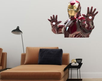 Iron Man Wall Deal, Geometric Iron Man, Low Poly Illustration, Vinyl Wall Art, Super Hero Decal, Kid's Bedroom Decal, Iron Man Decor, Art