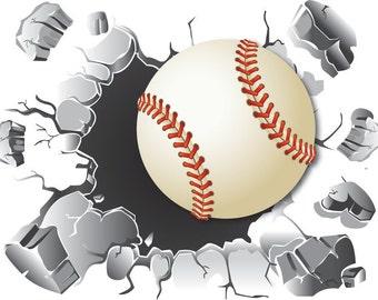 Baseball Wall Decal, Baseball Decor, Kid's Room Decals, Baseball, Removable Wall Decal, Sport Room Decal, Vinyl Sticker, by Abby Smith