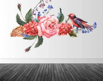 Vintage Flower Wall Decal, Vintage Floral Decal, Vinyl Wall Decal, Vintage Flowers, Home Decor, Infinite Graphics, Vinyl Graphics, Wall Art