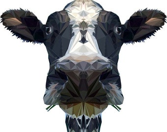 Cow Wall Decal, Low Poly Cow, Cow Sticker, Vinyl Wall Decal, Modern Art Design, Polygonal Design, Geometric Cow, Wall Sticker, Farm Animal