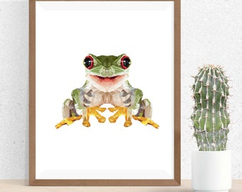 Geometric Frog Print, Polygonal Art, Triangle Design, Abstract Print, Frog Art, Symmetric Design, Modern Art, Tree Frog Print, Geometric Art