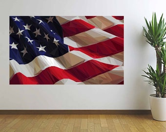 American Flag Art, Abstract U.S. Flag, Polygonal Flag, Low Poly Art, Vinyl Wall Decal, Wall Sticker, Infinite Graphics, Home Decor, Wall Art