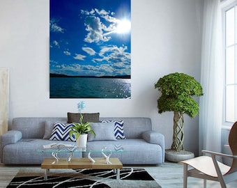 Summer Lake Decal, Water Wall Mural, Landscape Wall Decal, Lake Photography, Landscape Wall Decal, Home Decor, Removable Wall Sticker, Art