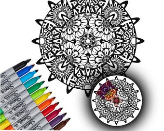 Coloring Decal, Vinyl Mandala Decal, Art Project, Vinyl Wall Art, Mandala Coloring Decal, Adult Coloring, Home Decor, by Abby Smith