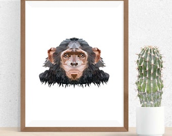 Monkey Polygonal Art, Abstract Print, Monkey Art, Symmetric Design, Modern Art, Infinite Graphics, Design by Abby Smith, Geometric Art