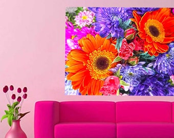 Floral Wall Decal, Big Flower Decal, Floral Wall Paper, Orange Flowers, Purple Flowers, Large Wall Sticker, Flower Bouquet Decal, Home Decor
