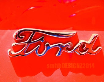 Classic Ford Photography, Ford Photo, Vintage Ford Emblem, Man Cave Decor, Wall Art, Vinyl Wall Decal, by Abby Smith