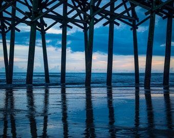 Ocean Wall Decal, Coastal Photography, Pier Reflection, Beach Decor, Vinyl Wall Decal, Photo by Abby Smith, Coastal Wall Art, Wall Decor