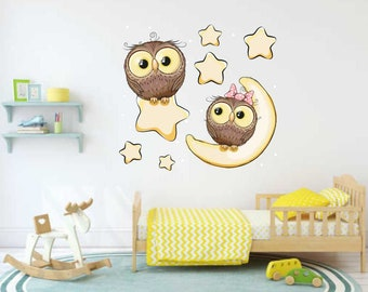 Baby Owl Decals, Nursery Decal, Moon & Stars Decal, Toddler Room Decor, Wall Decals, Wall Stickers, Owls, Baby's Room Decor, Cartoon Owls