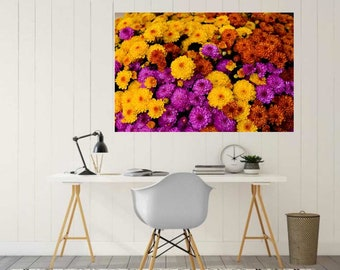 Floral Wall Decal, Autumn Mums, Photography, Floral Photography, Photo by Abby Smith, Home Decor, Vinyl Wall Decal, Fall Flower Decal, Print