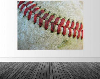 Baseball Wall Decal, Vinyl Wall Graphics, Macro Baseball Photo, Sports Theme Decor, Sports Photo by Abby Smith, Infinite Graphics