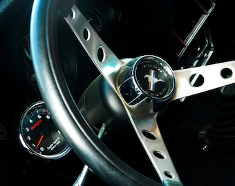 Ford Photography, Ford Mustang, Mustang Steering Wheel, Vintage Car Photo, Automotive Photography, Photo by Abby Smith, Home Decor, Wall Art