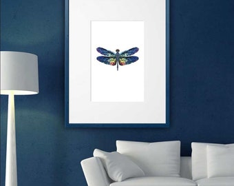 Dragonfly, Polygonal Art, Abstract Print, Low Poly Art, Symmetric Design, Modern Art, Dragonfly Poster, Vinyl Print, Geometric Art, Wall Art
