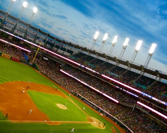 Indians Baseball, Baseball Decor, MLB Photography, Progressive Field Photo, Photo by Abby Smith, American Tradition, Night Game, Cleveland