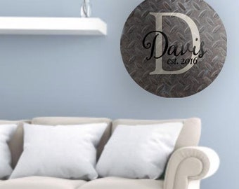Monogram Decal, Personalized Decal, Monogram Sign, Vinyl Wall Decal, Monogram Decor, Rustic Metal Decal, Home Decor, Steel Decal, Art Decal