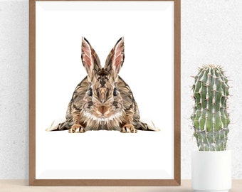 Rabbit Print, Polygonal Art, Abstract Print, Rabbit Art, Symmetric Design, Modern Art, Infinite Graphics, by Abby Smith, Geometric Art