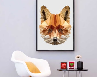 Fox Illustration, Polygonal Fox, Abstract Print, Fox Art, Symmetric Design, Modern Art, Infinite Graphics, Design by Abby Smith, Geometric