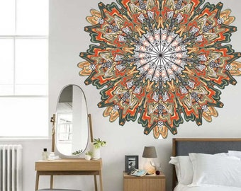 Mandala Wall Sticker, Vinyl Mandala Decal, Vinyl Decals, Orange Mandala, Slate Mandala, Vinyl Graphics, Infinite Graphics, Wall Decor, Decal