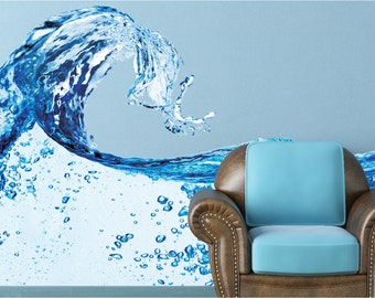 Water Splash Wall Decal, Blue Water Wall Mural, Vinyl Wall Mural, Infinite Graphics, Photography Art, Removable Vinyl Sticker, Home Decor