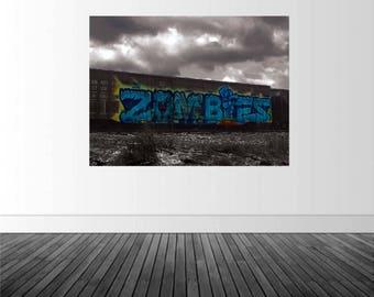 Graffiti Wall Decal, Train Wall Decal, Train Graffiti Decal, Vinyl Wall Decal, Removable Decal, Zombie Decal, Zombie Graffiti, by Abby Smith