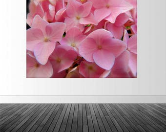 Hydrangea Wall Decal, Floral Photography Decal, Pink Hydrangea, Macro Flower Photo, Vinyl Wall Decal, Home Decor, Wall Art, by Abby Smith