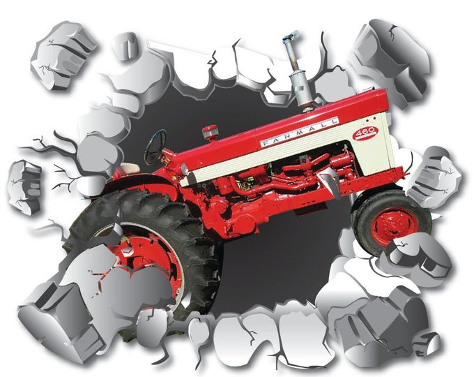 Featured listing image: Tractor Wall Decal, Farm Decor, Removable Wall Sticker, Farmall Tractor Decal, Tractor Theme Decor, Wall Graphics, Red Tractor Busting Wall