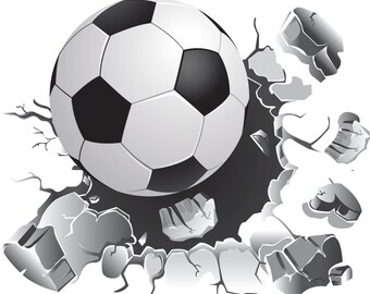 Soccer Wall Decal, Soccer Ball Decal, Wall Sticker, Soccer Decor, Soccer Sticker, Vinyl Wall Sticker, Sports Decal, Removable Wall Art,