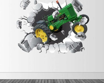 Green Tractor Wall Decal, Tractor Decal, Busting Wall Decal, Infinite Graphics, Vinyl Wall Graphics, Farm Decor, Kid's Bedroom Decor,
