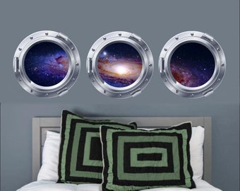 Galaxy Wall Decal, Galaxy Portholes, Set of 3 Decals, Space Decals, Vinyl Wall Stickers, Vinyl Graphics, Bedroom Decor, Galaxy Decals, Decal