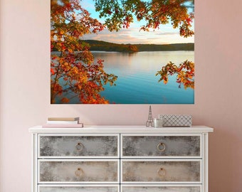 Autumn Lake Wall Decal, Landscape Wall Mural, Vinyl Wall Mural, Autumn Lake Photo, Removable Decal, Burnt Orange Leaves, Autumn Home Decor,