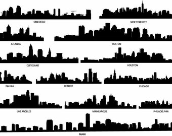 City Skyline Decal, Skyline Silhouette, Vinyl Wall Decals, City Wall Decals, Cleveland, Detroit, NYC, Miami Skyline, Infinite Graphics, Art
