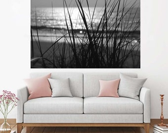 Ocean Scape Decal, Coastal Home Decor, Black & White Wall Decal, Sunrise Wall Decal, Ocean Landscape, Beach Photography, Vinyl Wall Decal,