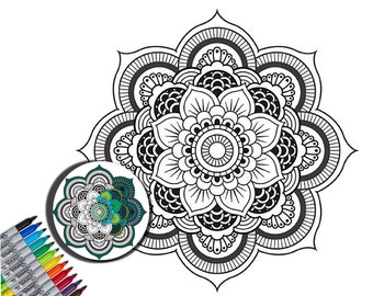 Wall Decal, Mandala Decal, Color My Wall Decal, Vinyl Wall Graphic, Creative Coloring, Do it Yourself, Home Decor, by Abby Smith