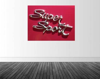 Classic Car Wall Decal, Super Sport Photography, Classic Car Art, Father's Day Gift, Vinyl Wall Graphics, by Abby Smith