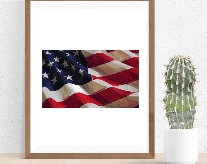 Featured listing image: American Flag, Polygonal Art, Abstract Print, Patriotic Art, Symmetric Design, Modern Art, Infinite Graphics, Geometric Art,  American Art