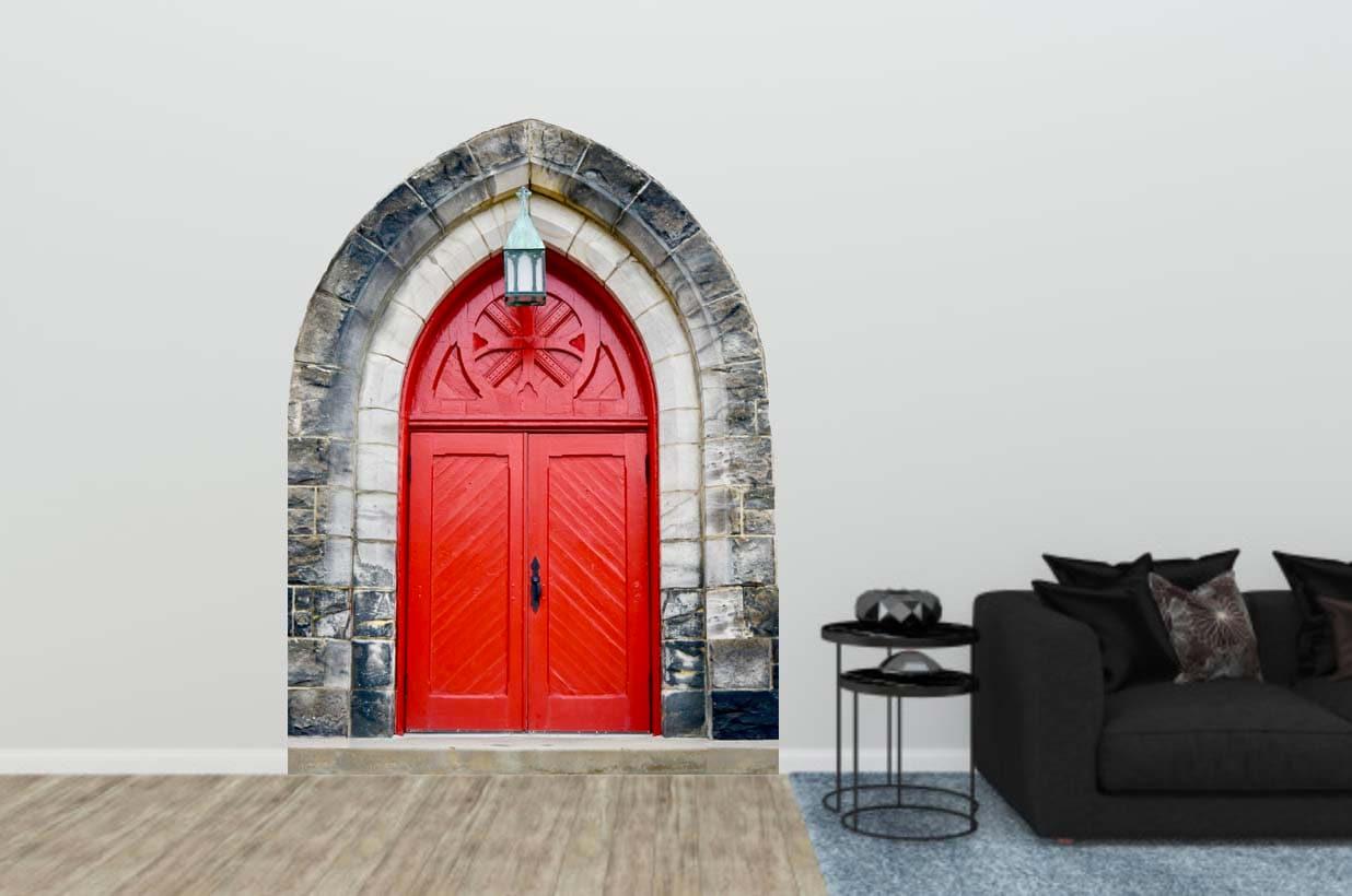 Red Door Decal, Vintage Red Door, Vinyl Wall Decal
