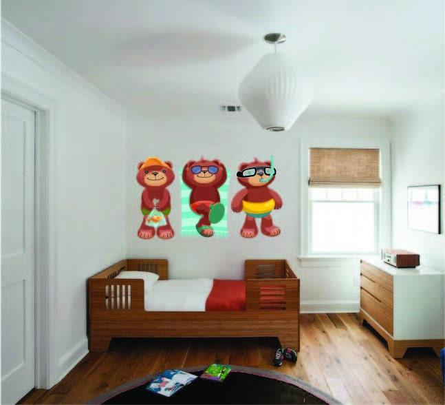 Children\'s Bedroom Decor, Beach Bears Wall Decal, Teddy Bear ...