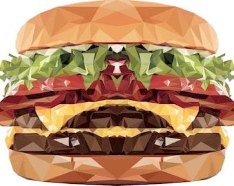 Cheeseburger Decal, Symmetrical Art, Geometric Decal, Design by Abby Smith, Infinite Graphics, Wall Graphics, Food Art, Polygonal Art,  Food