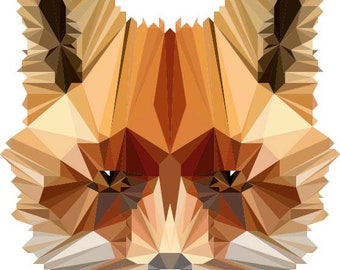 Fox Illustration, Fox Wall Decal, Vinyl Wall Decal, Polygonal Fox, Low Poly Fox, Infinite Graphics, Wall Graphics, Home Decor, Kid's Room