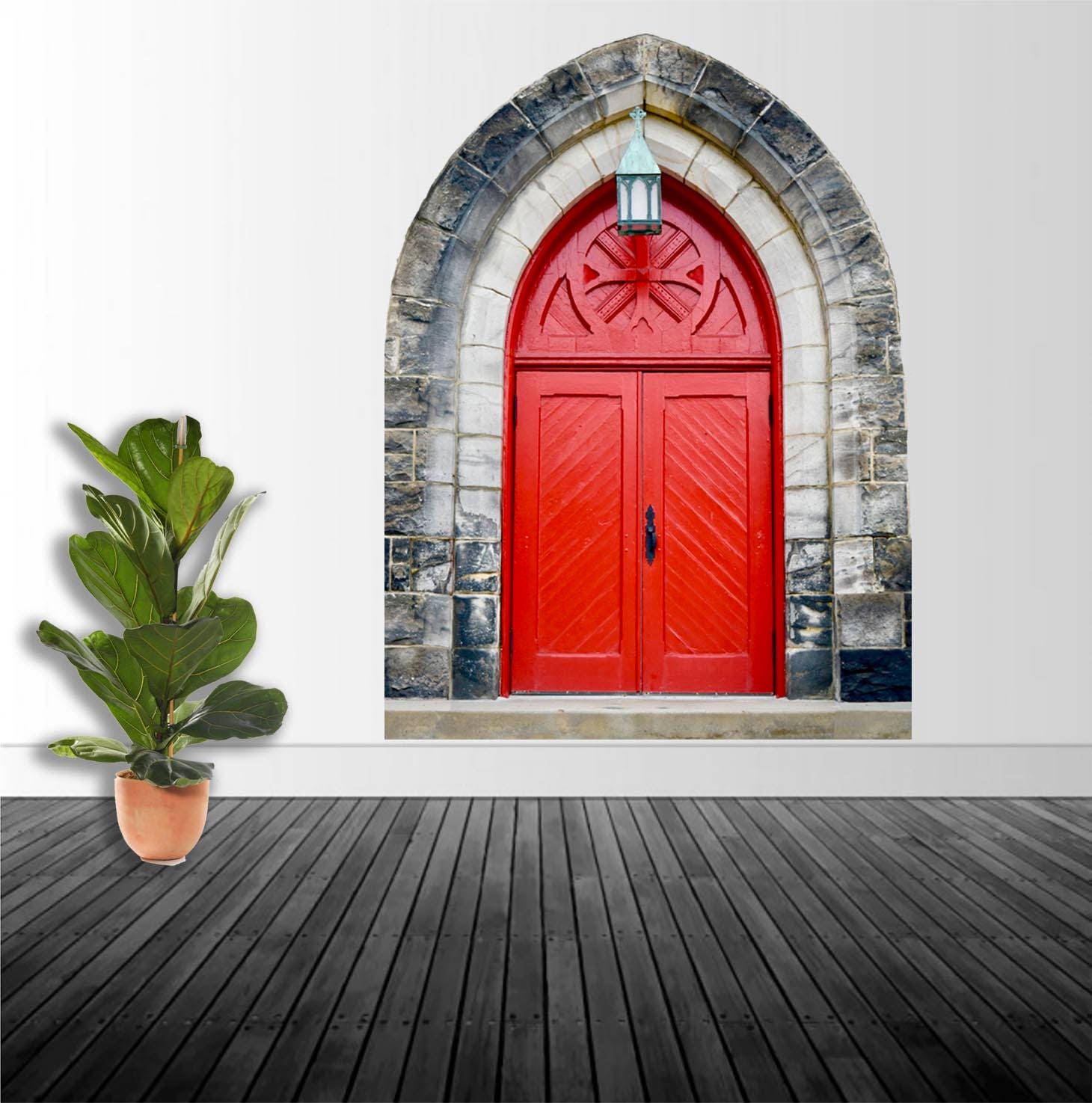 Door Decal Vintage Red Door Vinyl Wall Decal Renaissance Decor