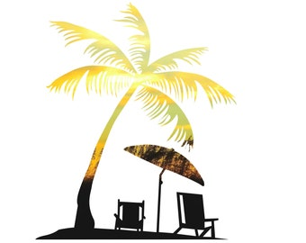 Palm Tree Decal, Palm Tree Sticker, Beach Sunset Photo, Photography, Photo by Abby Smith, Infinite Graphics, Home Decor, Vinyl Wall Decal