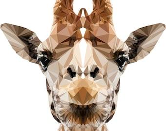Giraffe Wall Decal, Giraffe Sticker, Polygonal Giraffe, Geometric Design, Vinyl Wall Sticker, Polygonal Art, Home Decor, Nursery Decal, Art
