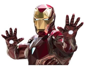 Iron Man Wall Deal, Geometric Iron Man, Low Poly Illustration, Vinyl Wall Art, Super Hero Decal, Kid's Bedroom Decal, Iron Man Decor, Art