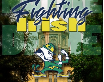 Notre Dame Wall Decal, Notre Dame Poster, Fighting Irish Decal, Notre Dame Fan Art, Photo by Abby Smith, Vinyl Wall Decal, Golden Dome Photo