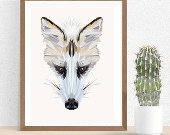 Fox Illustration, Polygonal Art, Abstract Print, White Fox Art, Symmetric Design, Modern Art, Infinite Graphics, by Abby Smith, Geometric