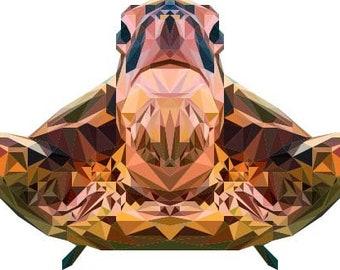 Sea Turtle Art, Polygonal Art, Abstract Print, Sea Turtle Design, Symmetric Design, Modern Art, Infinite Graphics, by Abby Smith, Geometric