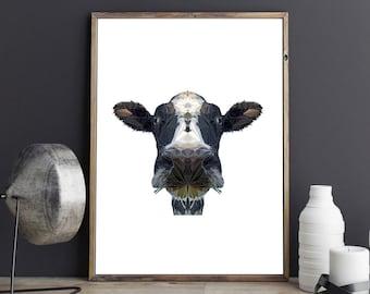 Cow Illustration, Polygonal Art, Abstract Print, Cow Art, Symmetric Design, Modern Art, Infinite Graphics, Design by Abby Smith, Geometric